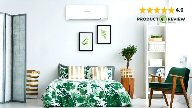avanti split system air conditioner in bedroom with 4.9 star product review rating