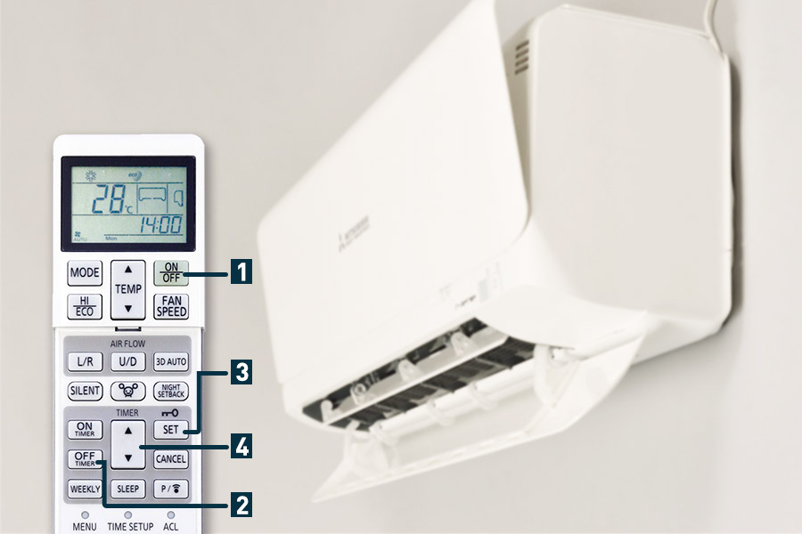 Setting a timer on the remote control of your MHI air conditioner