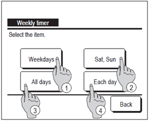 wired controller showing weekly timer step 1